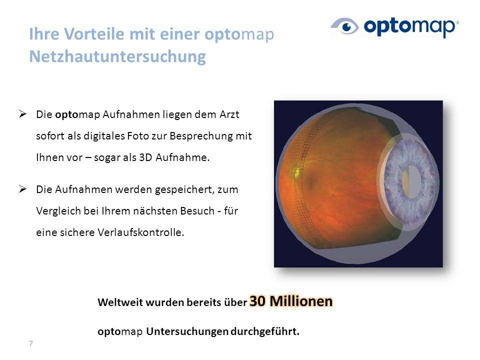  Die optomap Aufnahmen liegen dem Arzt sofort als digitales Foto zur Besprechung mit Ihnen vor – sogar als 3D Aufnahme.