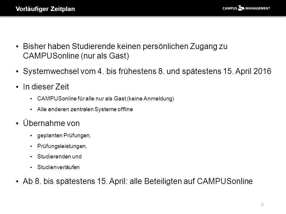 ▪Bisher haben Studierende keinen persönlichen Zugang zu CAMPUSonline (nur als Gast) ▪Systemwechsel vom 4. bis frühestens 8. und spätestens 15. April 2