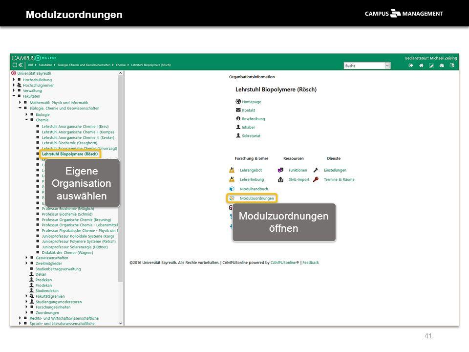 Modulzuordnungen Eigene Organisation auswählen Modulzuordnungen öffnen 41