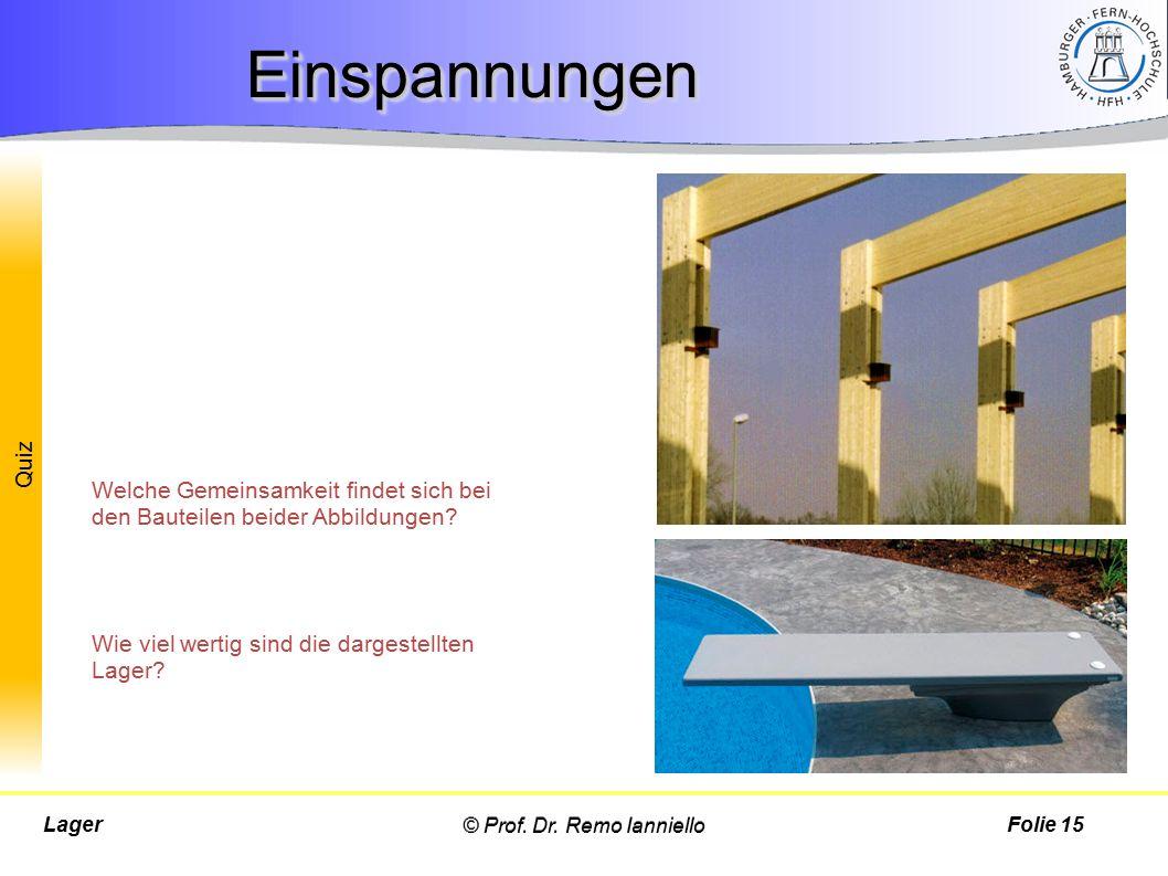 Quiz © Prof. Dr. Remo IannielloLagerFolie 15 EinspannungenEinspannungen Welche Gemeinsamkeit findet sich bei den Bauteilen beider Abbildungen? Wie vie