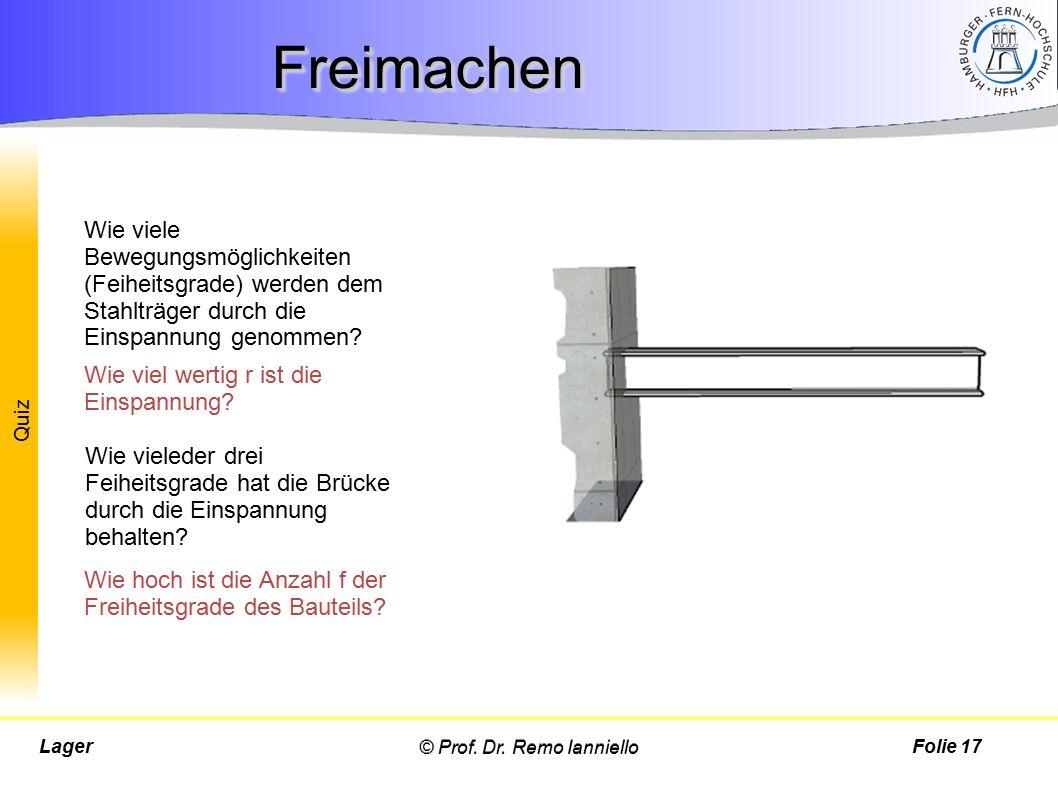 Quiz © Prof. Dr. Remo IannielloLagerFolie 17 FreimachenFreimachen Wie viel wertig r ist die Einspannung? Wie viele Bewegungsmöglichkeiten (Feiheitsgra