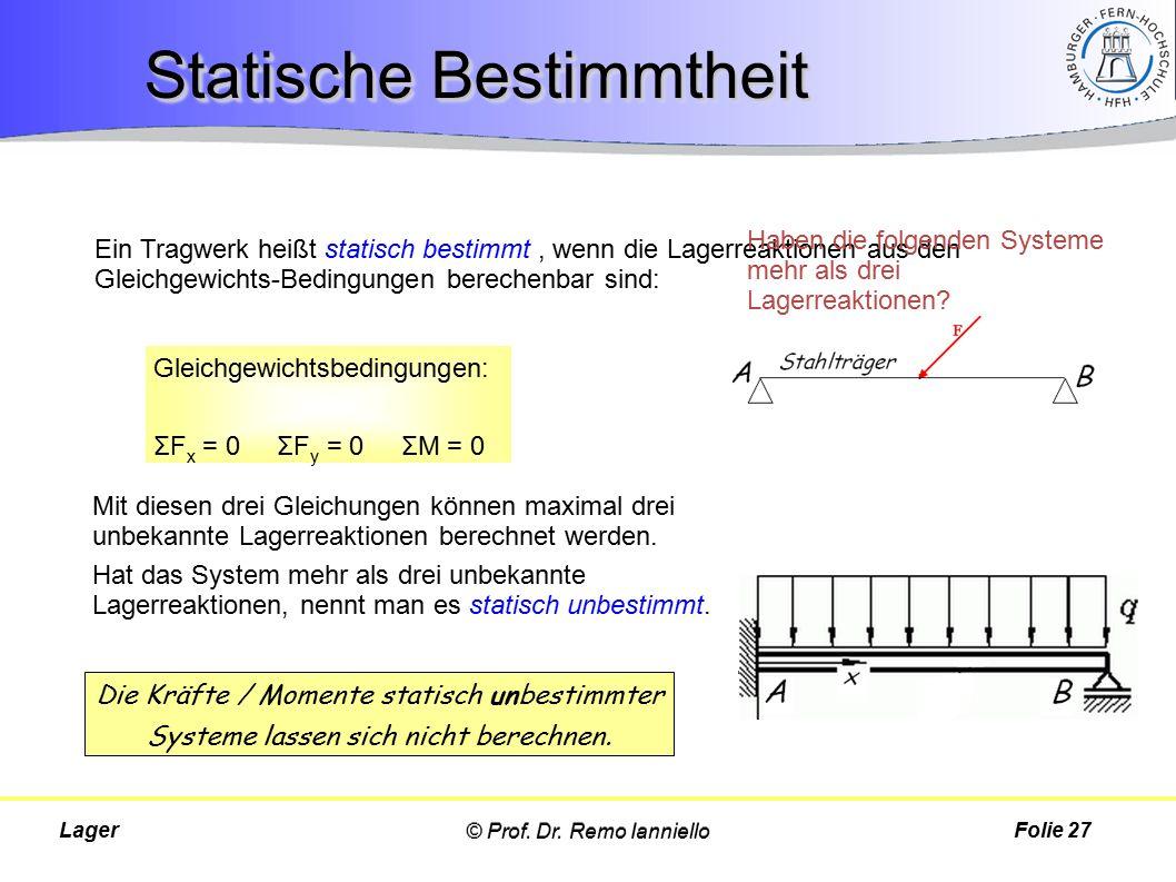 Ein Tragwerk heißt statisch bestimmt, wenn die Lagerreaktionen aus den Gleichgewichts-Bedingungen berechenbar sind: © Prof. Dr. Remo IannielloLager St
