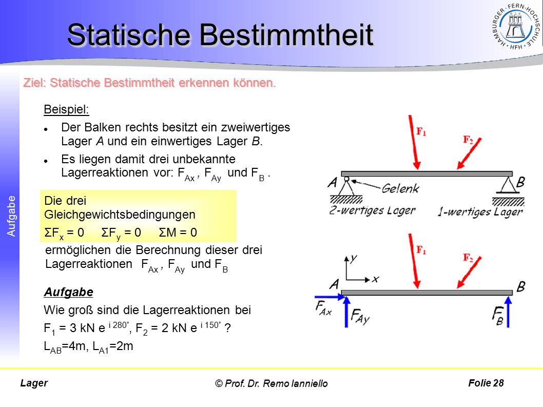 Aufgabe © Prof. Dr. Remo IannielloLagerFolie 28 Statische Bestimmtheit Beispiel: Der Balken rechts besitzt ein zweiwertiges Lager A und ein einwertige