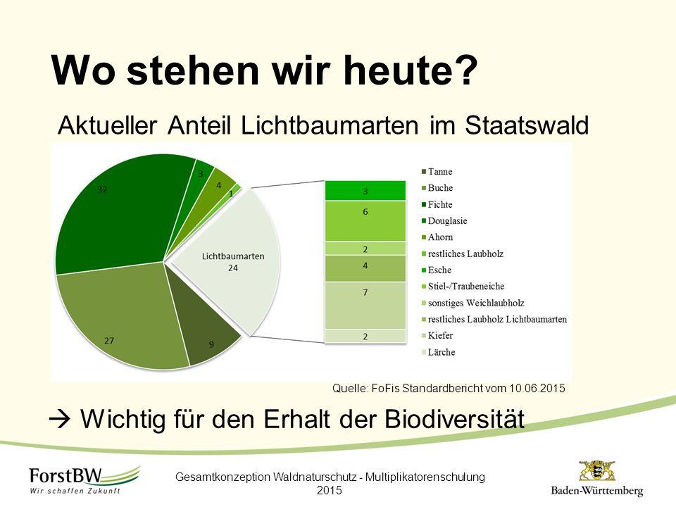 Wo stehen wir heute? Ak Gesamtkonzeption Waldnaturschutz - Multiplikatorenschulung 2015  Wichtig für den Erhalt der Biodiversität Quelle: FoFis Stand