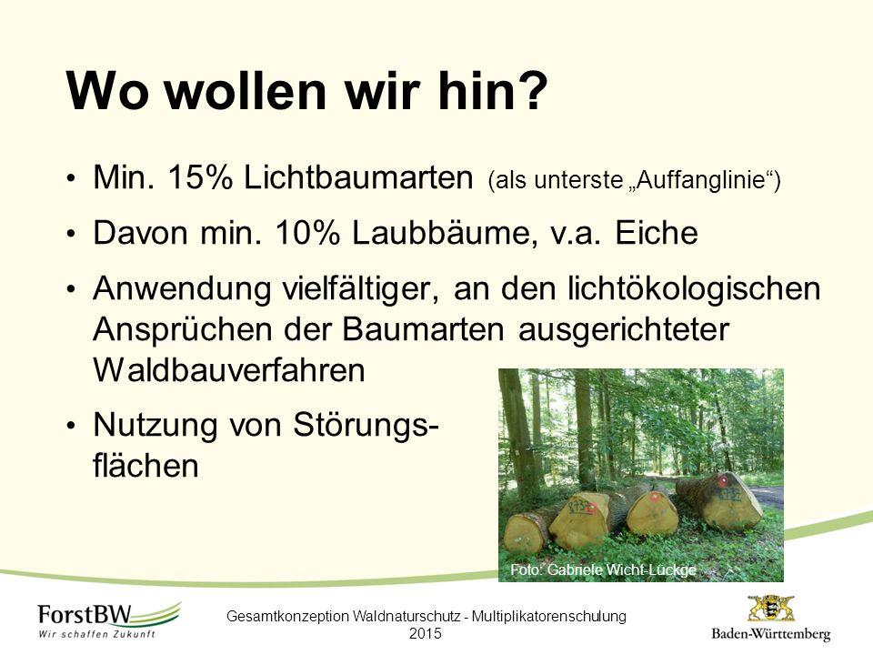 """Wo wollen wir hin? Gesamtkonzeption Waldnaturschutz - Multiplikatorenschulung 2015 Min. 15% Lichtbaumarten (als unterste """"Auffanglinie"""") Davon min. 10"""