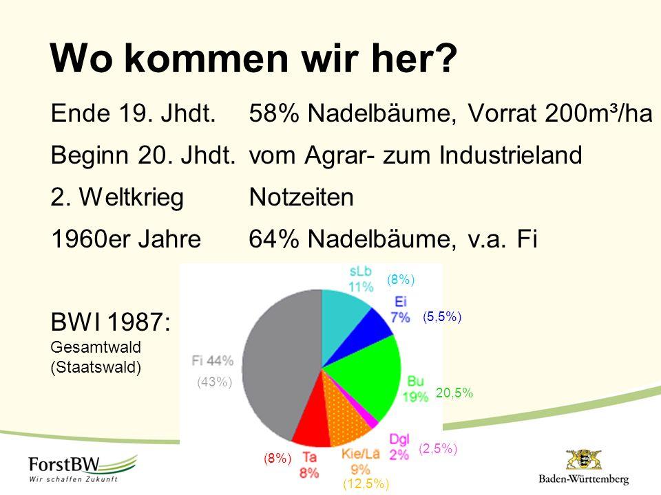 Wo kommen wir her? Ende 19. Jhdt.58% Nadelbäume, Vorrat 200m³/ha Beginn 20. Jhdt.vom Agrar- zum Industrieland 2. WeltkriegNotzeiten 1960er Jahre64% Na