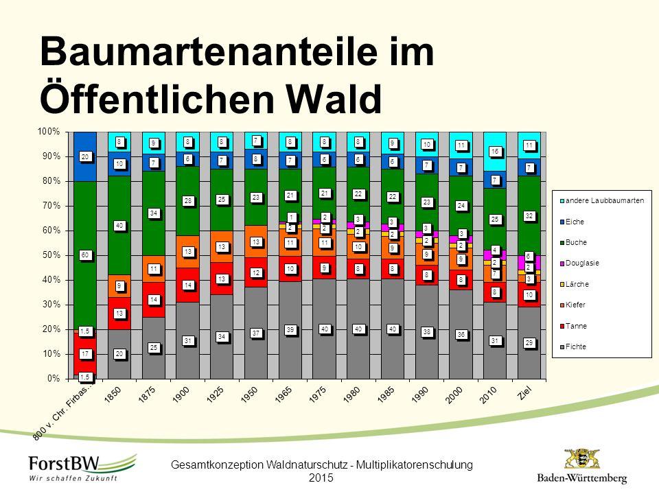 Baumartenanteile im Öffentlichen Wald Gesamtkonzeption Waldnaturschutz - Multiplikatorenschulung 2015