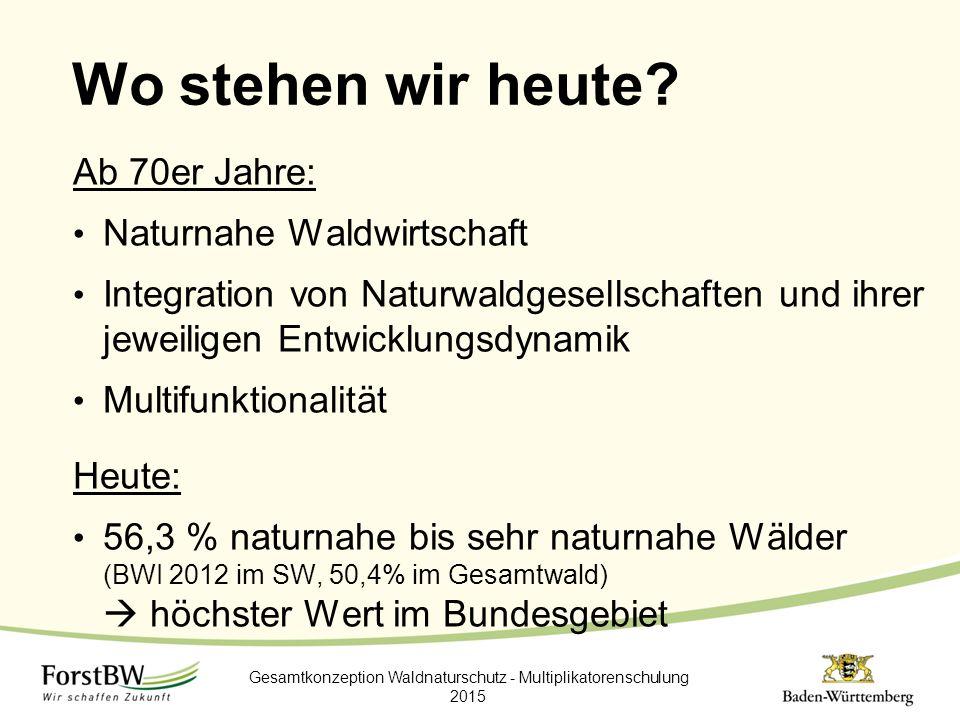 Wo stehen wir heute? Ab 70er Jahre: Naturnahe Waldwirtschaft Integration von Naturwaldgesellschaften und ihrer jeweiligen Entwicklungsdynamik Multifun