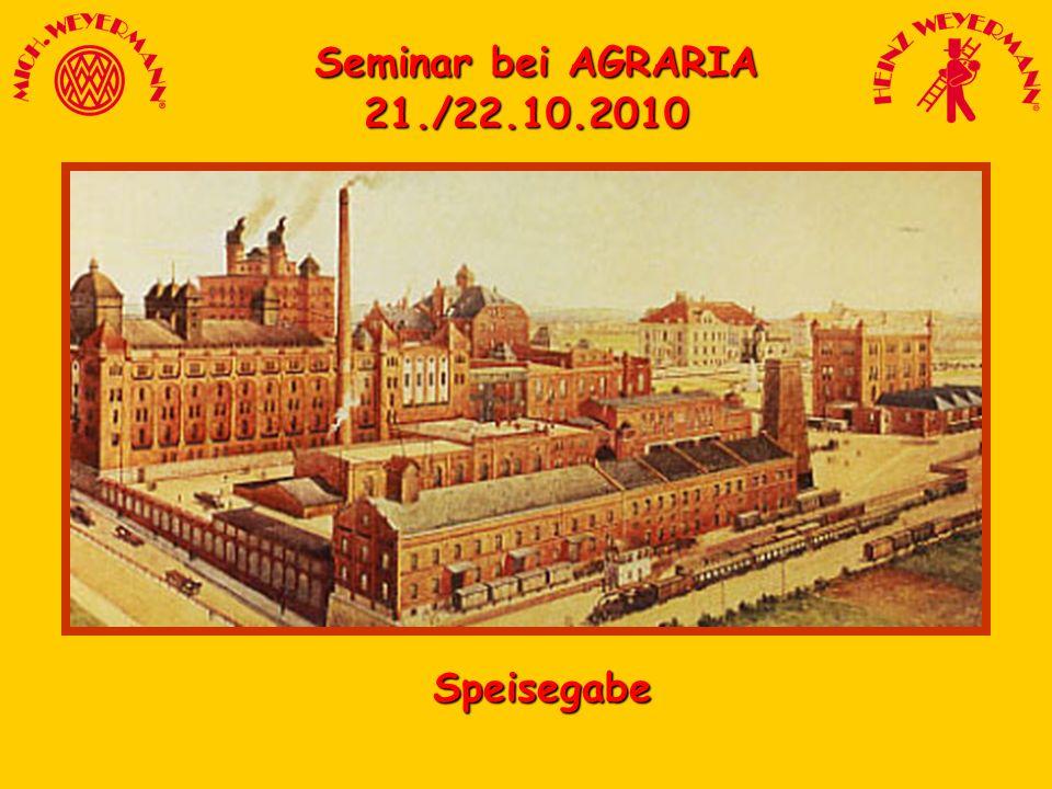 Seminar bei AGRARIA Seminar bei AGRARIA21./22.10.2010 Speisegabe