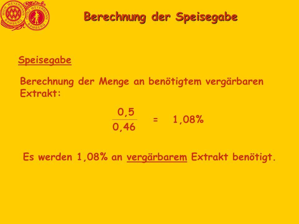 Berechnung der Speisegabe Berechnung der Speisegabe Speisegabe Berechnung der Menge an benötigtem vergärbaren Extrakt: 0,5 0,46 =1,08% Es werden 1,08% an vergärbarem Extrakt benötigt.