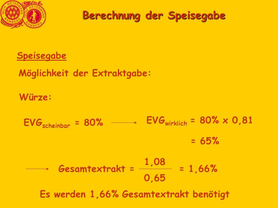 Berechnung der Speisegabe Berechnung der Speisegabe Speisegabe Möglichkeit der Extraktgabe: Würze: EVG scheinbar = 80% EVG wirklich = 80% x 0,81 = 65% Gesamtextrakt = 1,08 0,65 = 1,66% Es werden 1,66% Gesamtextrakt benötigt