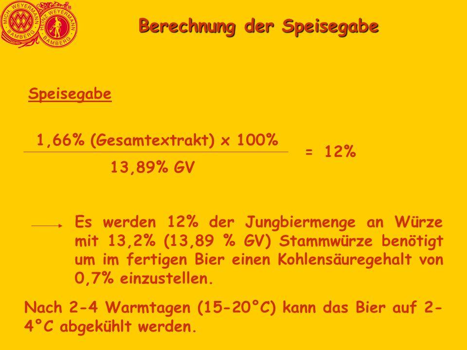 Berechnung der Speisegabe Berechnung der Speisegabe Speisegabe 1,66% (Gesamtextrakt) x 100% 13,89% GV =12% Es werden 12% der Jungbiermenge an Würze mit 13,2% (13,89 % GV) Stammwürze benötigt um im fertigen Bier einen Kohlensäuregehalt von 0,7% einzustellen.