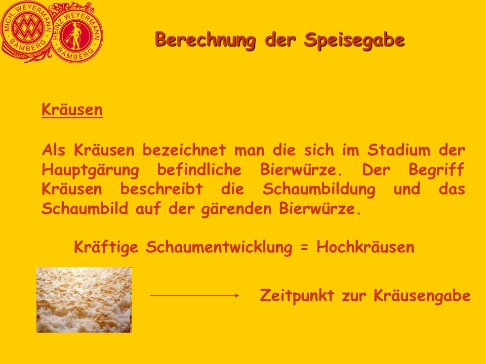 Berechnung der Speisegabe Kräusen Als Kräusen bezeichnet man die sich im Stadium der Hauptgärung befindliche Bierwürze.