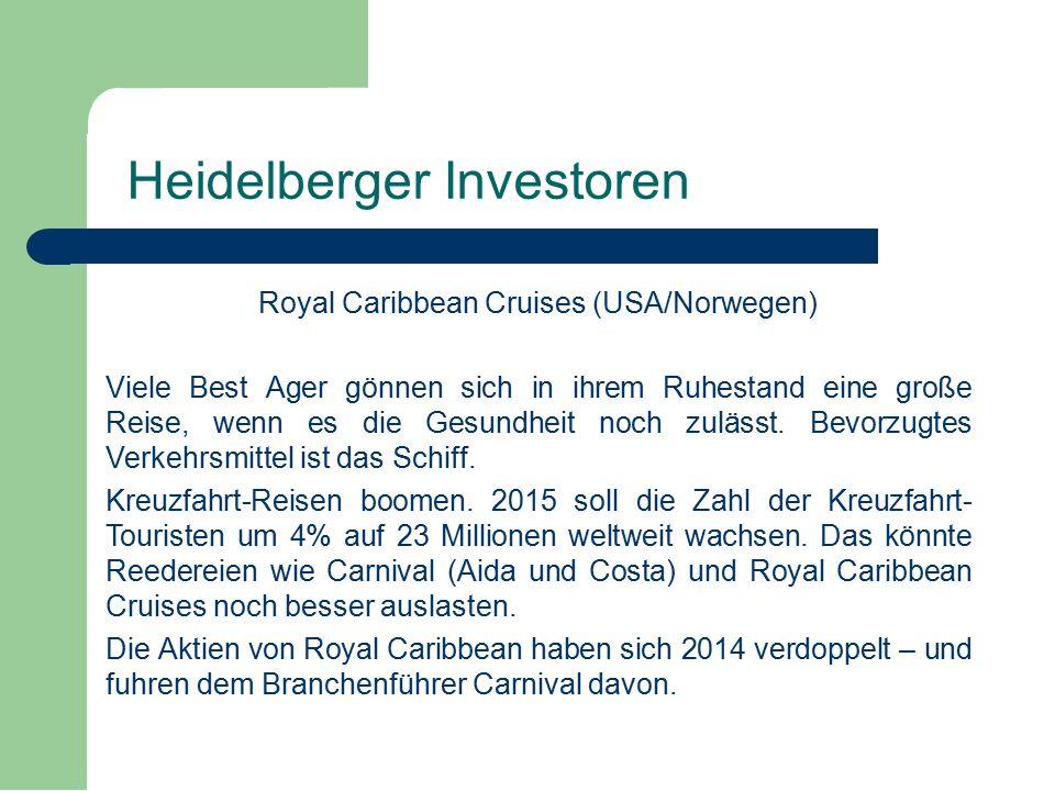 Royal Caribbean Cruises (USA/Norwegen) Viele Best Ager gönnen sich in ihrem Ruhestand eine große Reise, wenn es die Gesundheit noch zulässt.