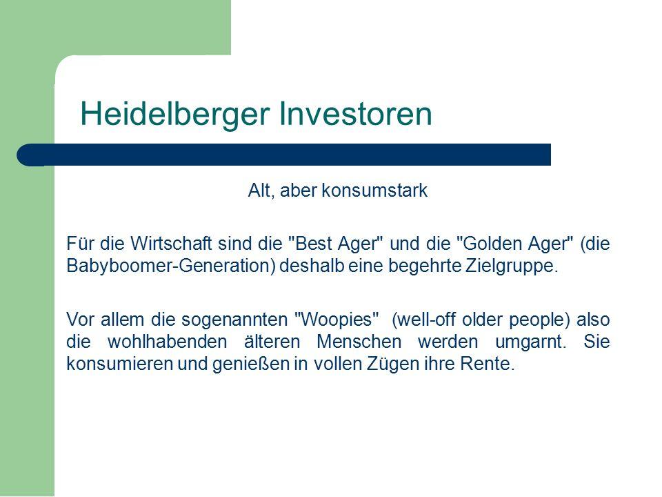Alt, aber konsumstark Für die Wirtschaft sind die Best Ager und die Golden Ager (die Babyboomer-Generation) deshalb eine begehrte Zielgruppe.