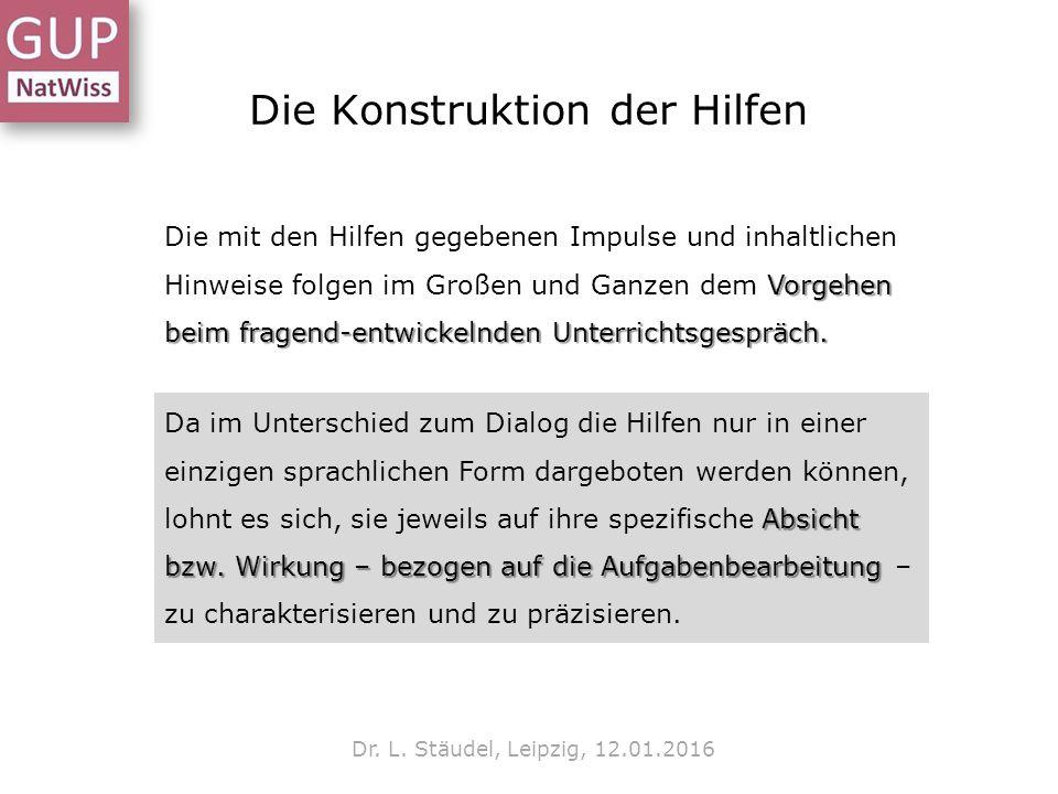 Die Konstruktion der Hilfen Dr. L. Stäudel, Leipzig, 12.01.2016 Vorgehen beim fragend-entwickelnden Unterrichtsgespräch. Die mit den Hilfen gegebenen