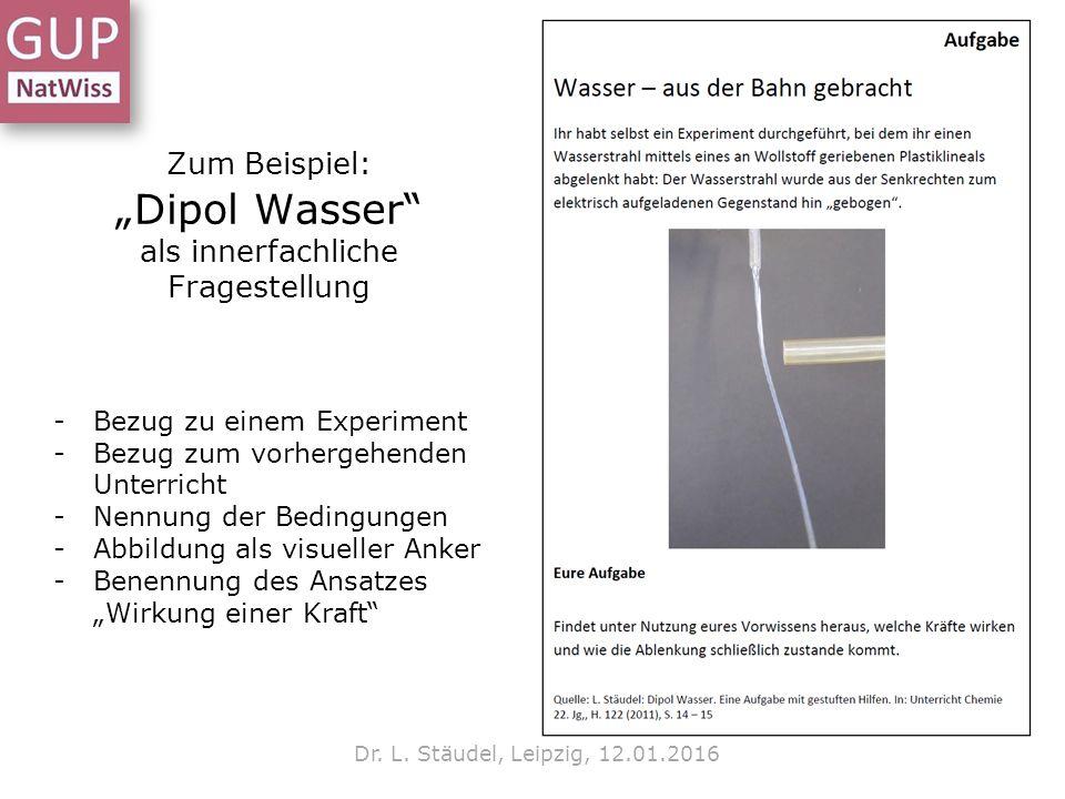 """Zum Beispiel: """"Dipol Wasser"""" als innerfachliche Fragestellung Dr. L. Stäudel, Leipzig, 12.01.2016 -Bezug zu einem Experiment -Bezug zum vorhergehenden"""