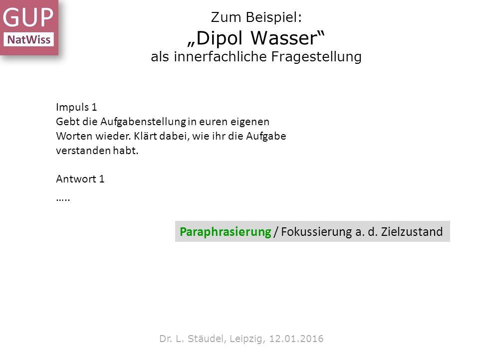 """Zum Beispiel: """"Dipol Wasser"""" als innerfachliche Fragestellung Dr. L. Stäudel, Leipzig, 12.01.2016 Impuls 1 Gebt die Aufgabenstellung in euren eigenen"""