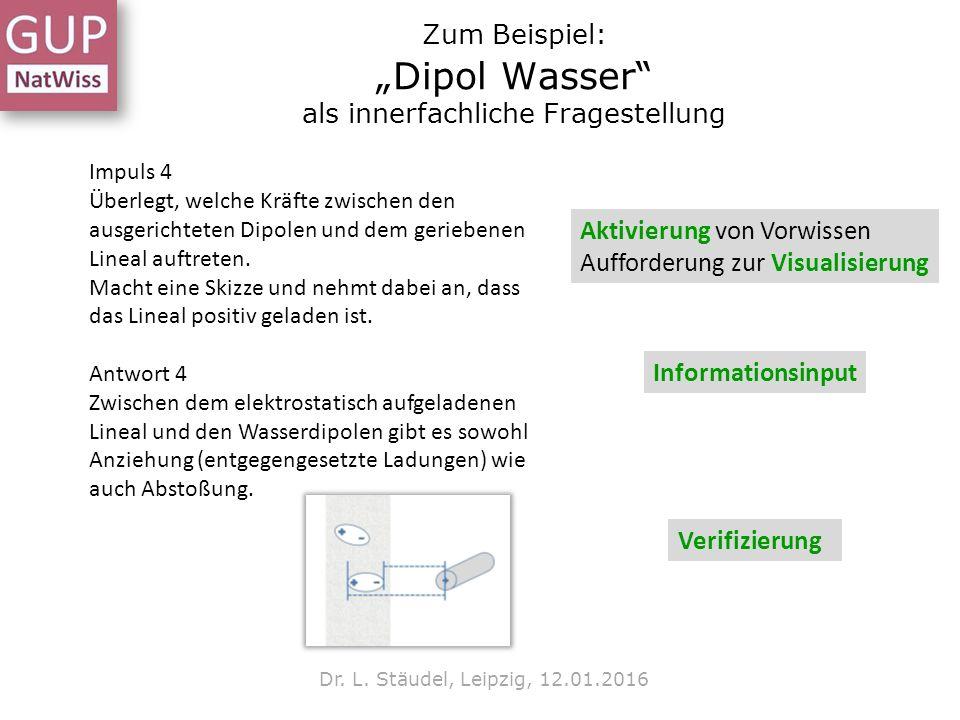 """Zum Beispiel: """"Dipol Wasser"""" als innerfachliche Fragestellung Dr. L. Stäudel, Leipzig, 12.01.2016 Impuls 4 Überlegt, welche Kräfte zwischen den ausger"""