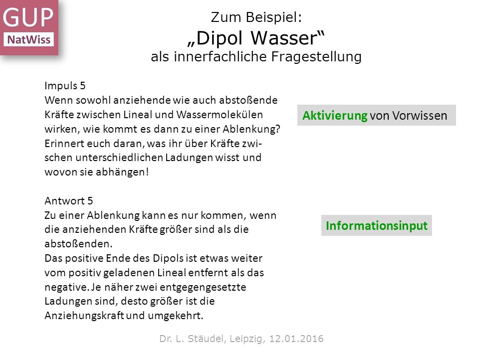 """Zum Beispiel: """"Dipol Wasser"""" als innerfachliche Fragestellung Dr. L. Stäudel, Leipzig, 12.01.2016 Impuls 5 Wenn sowohl anziehende wie auch abstoßende"""