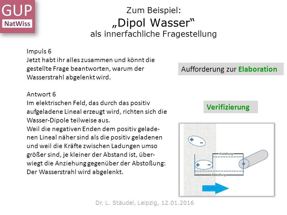 """Zum Beispiel: """"Dipol Wasser"""" als innerfachliche Fragestellung Dr. L. Stäudel, Leipzig, 12.01.2016 Impuls 6 Jetzt habt ihr alles zusammen und könnt die"""