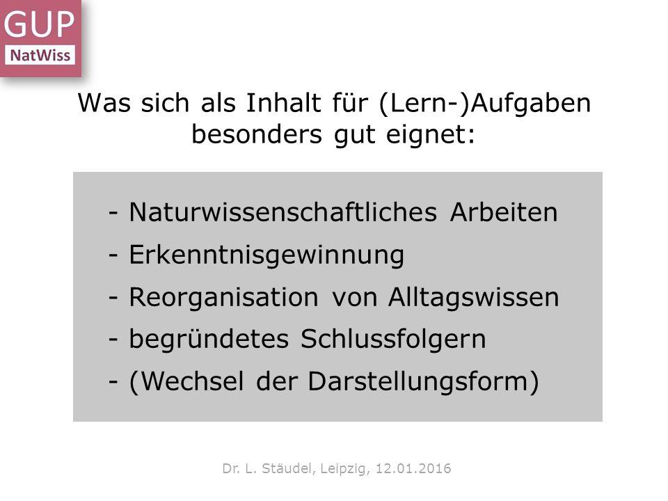 Was sich als Inhalt für (Lern-)Aufgaben besonders gut eignet: Dr. L. Stäudel, Leipzig, 12.01.2016 - Naturwissenschaftliches Arbeiten - Erkenntnisgewin
