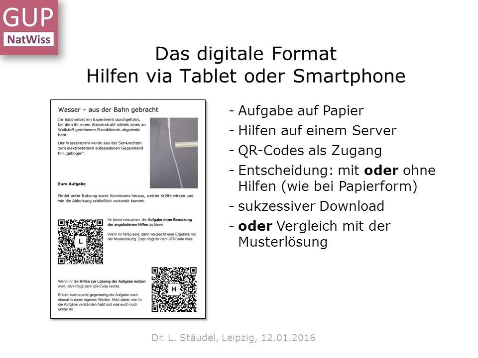 Das digitale Format Hilfen via Tablet oder Smartphone Dr. L. Stäudel, Leipzig, 12.01.2016 -Aufgabe auf Papier -Hilfen auf einem Server -QR-Codes als Z
