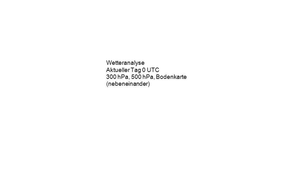 Wetteranalyse Aktueller Tag 0 UTC 300 hPa, 500 hPa, Bodenkarte (nebeneinander)
