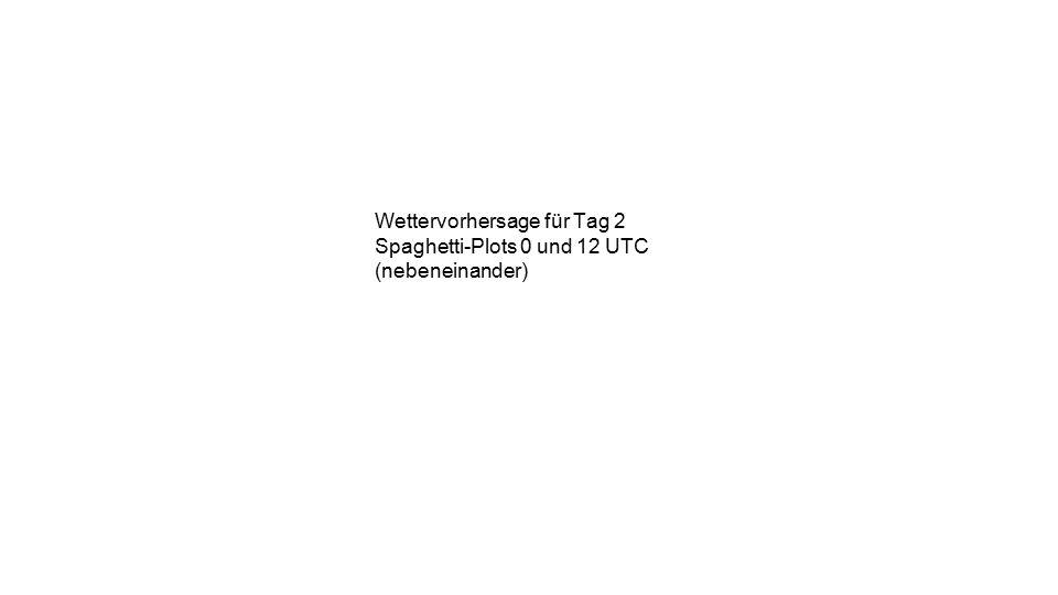 Wettervorhersage für Tag 2 Spaghetti-Plots 0 und 12 UTC (nebeneinander)