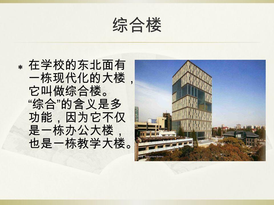 """综合楼  在学校的东北面有 一栋现代化的大楼, 它叫做综合楼。 """" 综合 """" 的含义是多 功能,因为它不仅 是一栋办公大楼, 也是一栋教学大楼。"""