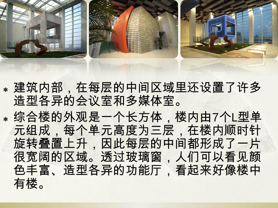  建筑内部,在每层的中间区域里还设置了许多 造型各异的会议室和多媒体室。  综合楼的外观是一个长方体,楼内由 7 个 L 型单 元组成,每个单元高度为三层,在楼内顺时针 旋转叠置上升,因此每层的中间都形成了一片 很宽阔的区域。透过玻璃窗,人们可以看见颜 色丰富、造型各异的功能厅,看起来好像楼中 有楼。