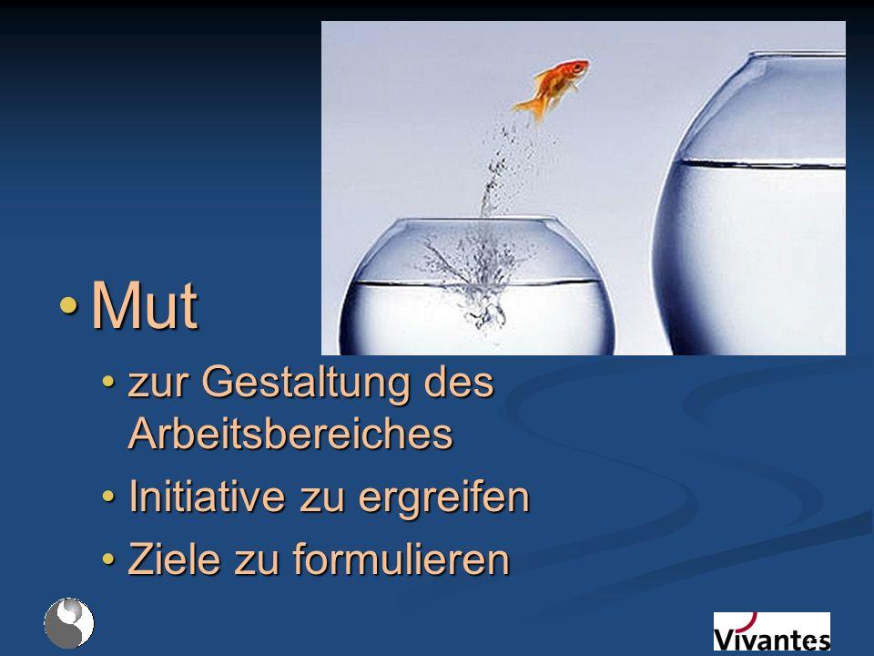 MutMut zur Gestaltung des Arbeitsbereicheszur Gestaltung des Arbeitsbereiches Initiative zu ergreifenInitiative zu ergreifen Ziele zu formulierenZiele zu formulieren 17