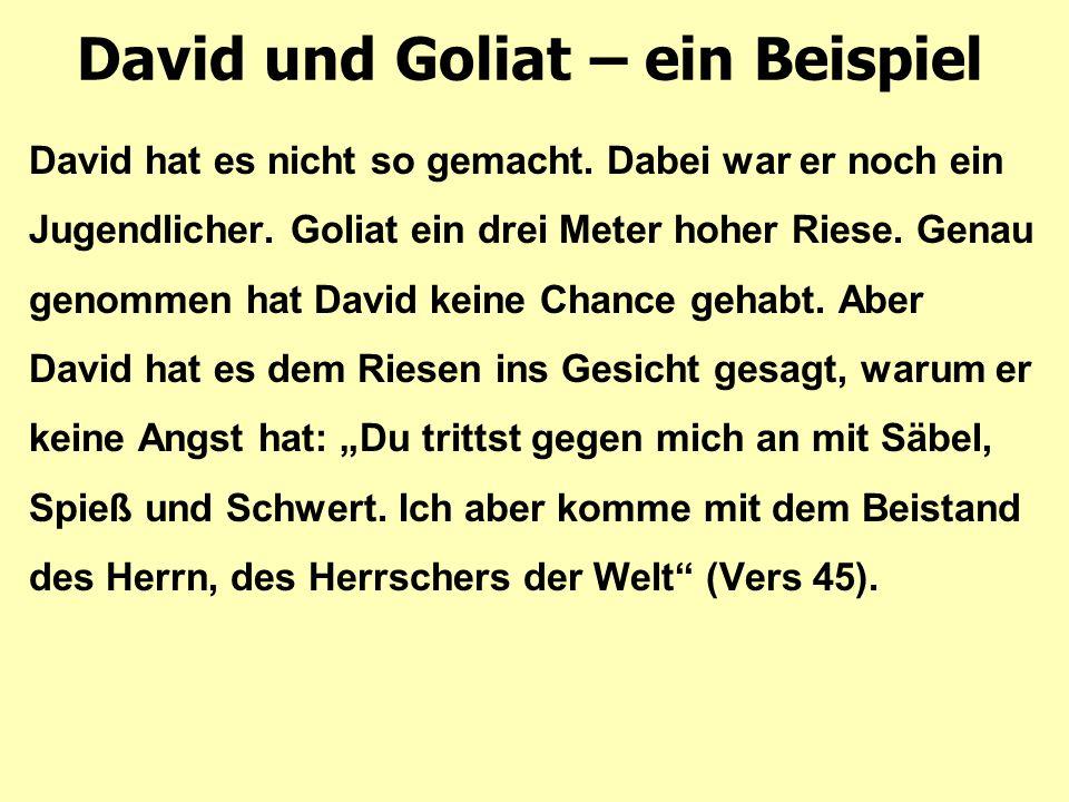 David und Goliat – ein Beispiel David hat es nicht so gemacht. Dabei war er noch ein Jugendlicher. Goliat ein drei Meter hoher Riese. Genau genommen h