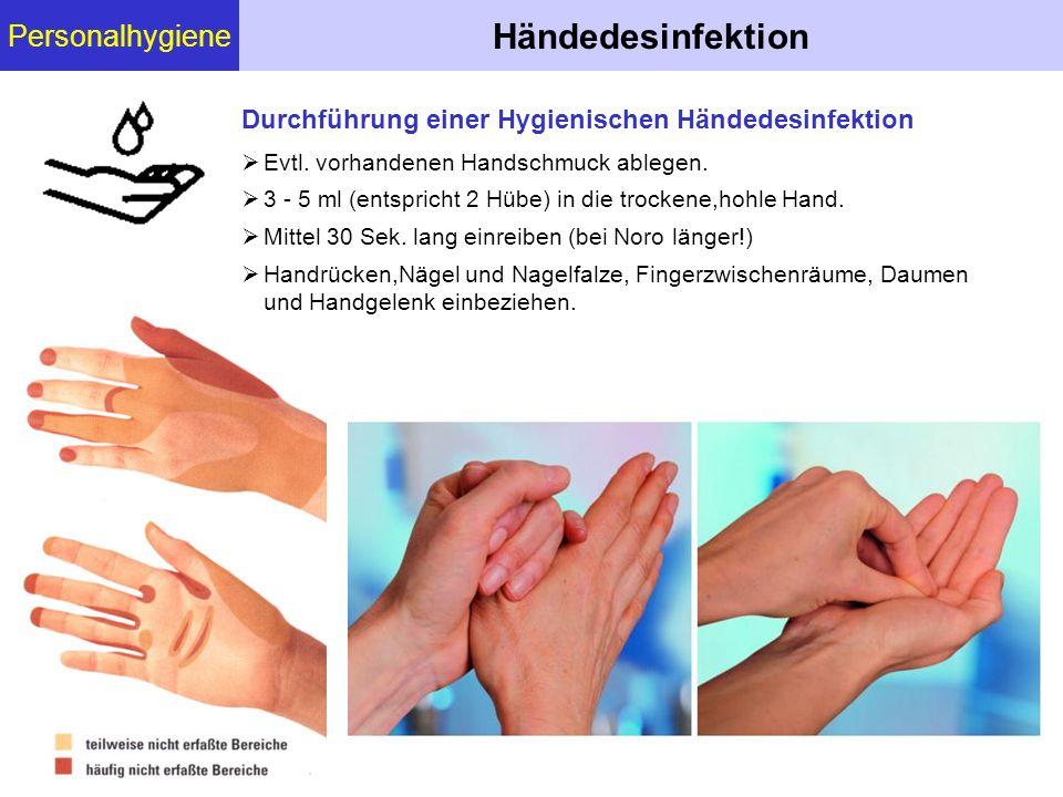 Personalhygiene Händedesinfektion  Evtl. vorhandenen Handschmuck ablegen.  3 - 5 ml (entspricht 2 Hübe) in die trockene,hohle Hand.  Mittel 30 Sek.
