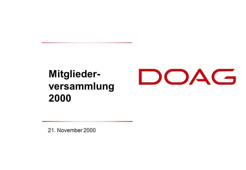  DOAG e.V., November 200022 Kassenprüfbericht 2000 Herr Kirschbaum (Steuerberater): 2.9) Kassenprüfbericht