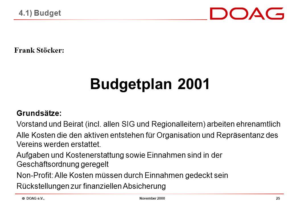  DOAG e.V., November 200025 Budgetplan 2001 Frank Stöcker: 4.1) Budget Grundsätze: Vorstand und Beirat (incl.