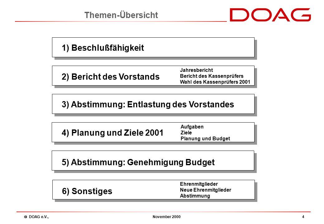  DOAG e.V., November 20005 Vorsitzender:Fried Saacke, msg systeme gmbh Stellvertreter:Dr.