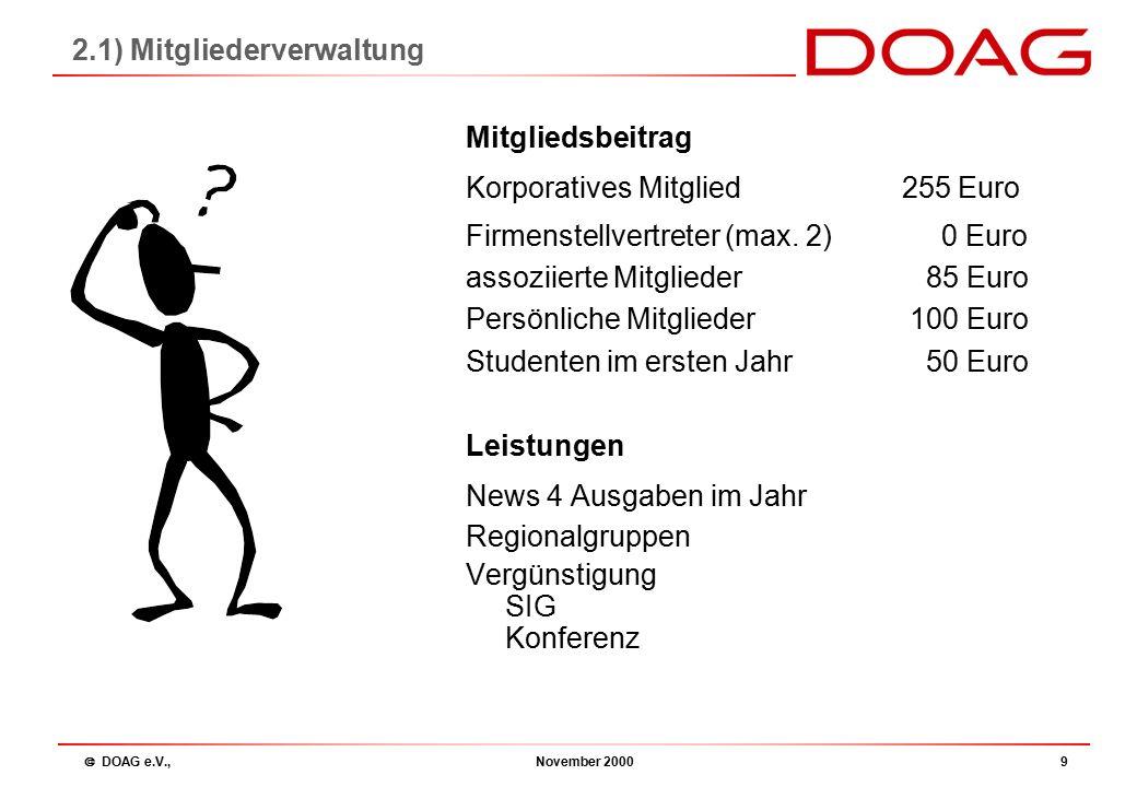  DOAG e.V., November 200010 Angebot MitgliedNicht Mitglied Newsnur für Mitglieder Regionaltreffenkostenfrei SIG 50 Euro100 Euro Konferenz470 Euro550 Euro 2.1) Mitgliederverwaltung
