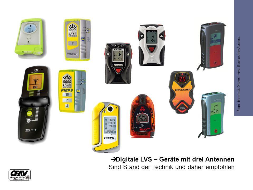  Digitale LVS – Geräte mit drei Antennen Sind Stand der Technik und daher empfohlen Pieps, Mammut, Ortovox, Arva, Backcountry Accsess