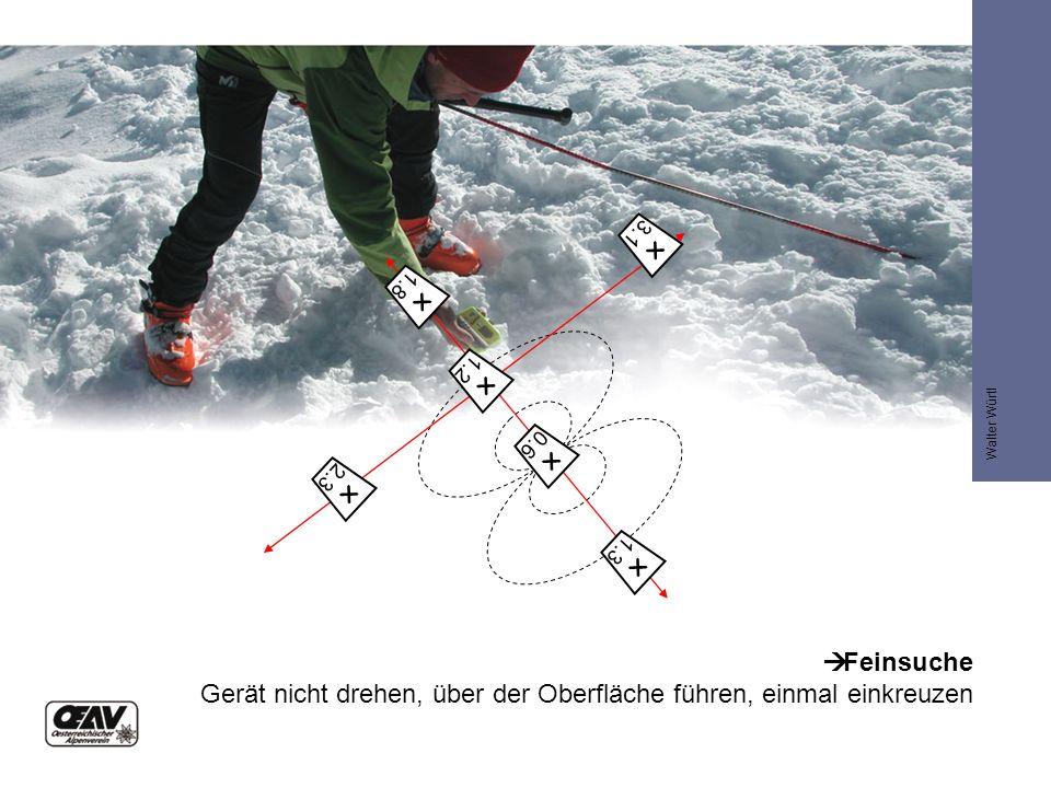  1.8  Feinsuche Gerät nicht drehen, über der Oberfläche führen, einmal einkreuzen  3.1  1.2  2.3  0.6  1.3 Walter Würtl