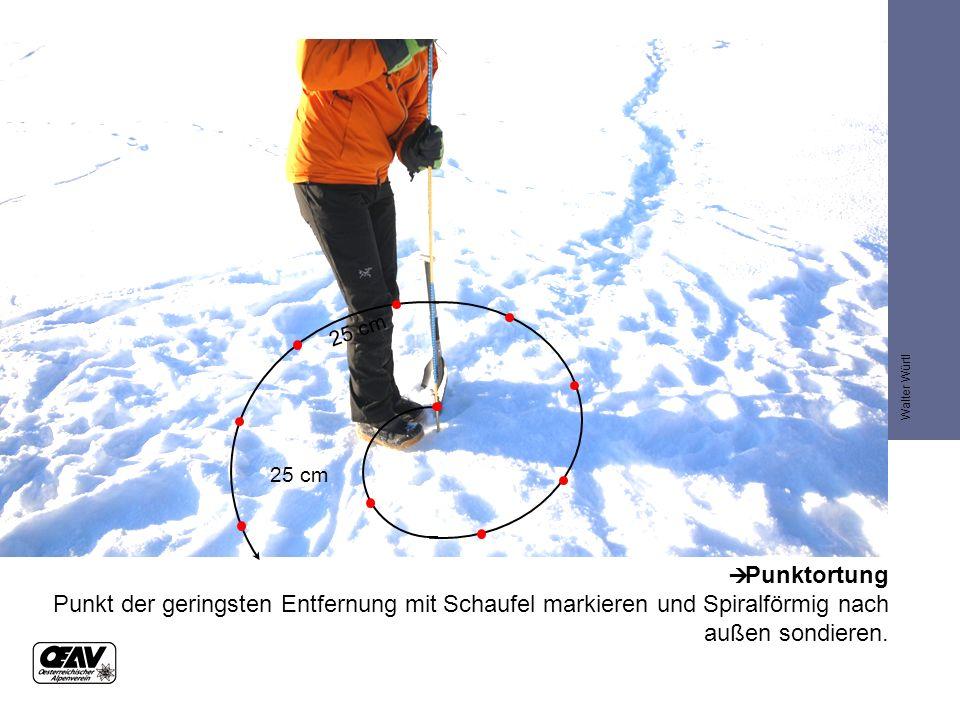  Punktortung Punkt der geringsten Entfernung mit Schaufel markieren und Spiralförmig nach außen sondieren.