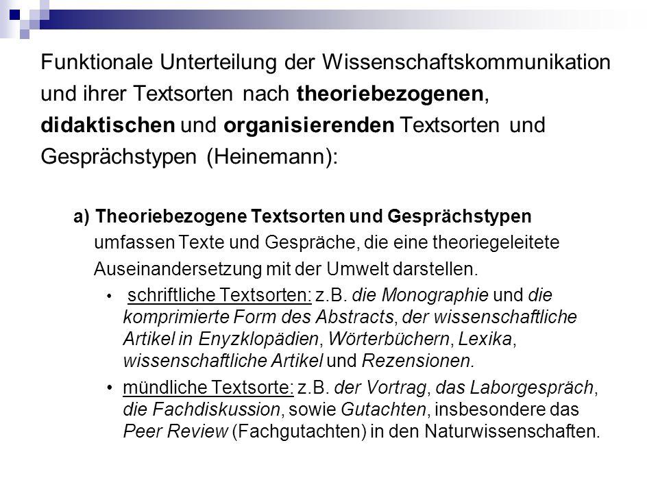 Funktionale Unterteilung der Wissenschaftskommunikation und ihrer Textsorten nach theoriebezogenen, didaktischen und organisierenden Textsorten und Ge