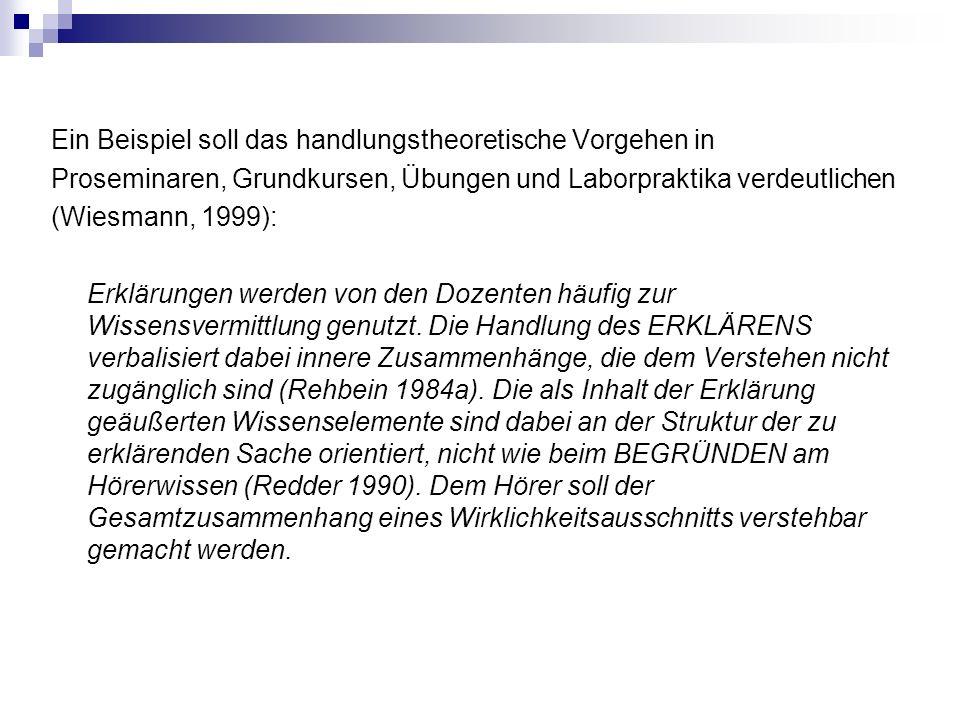 Ein Beispiel soll das handlungstheoretische Vorgehen in Proseminaren, Grundkursen, Übungen und Laborpraktika verdeutlichen (Wiesmann, 1999): Erklärung