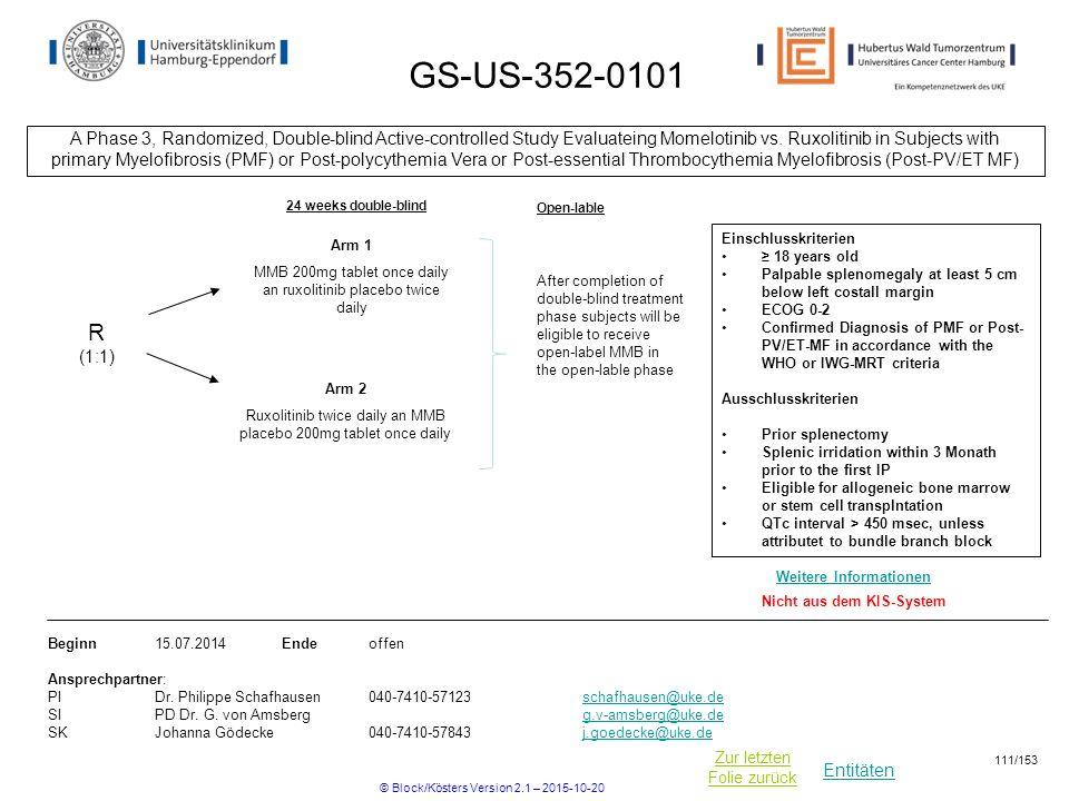 Entitäten Zur letzten Folie zurück GS-US-352-0101 A Phase 3, Randomized, Double-blind Active-controlled Study Evaluateing Momelotinib vs. Ruxolitinib