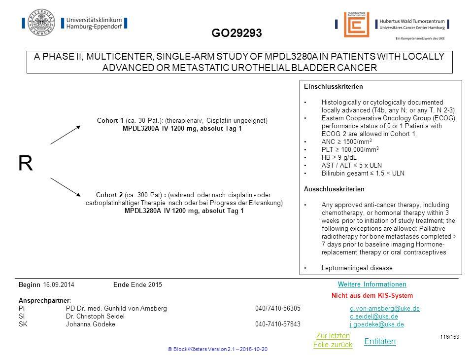 Entitäten Zur letzten Folie zurück GO29293 R Cohort 2 (ca. 300 Pat) : (während oder nach cisplatin - oder carboplatinhaltiger Therapie nach oder bei P