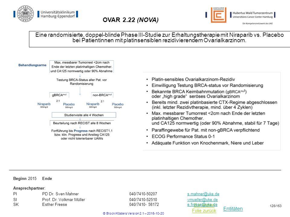 Entitäten Zur letzten Folie zurück OVAR 2.22 (NOVA) Eine randomisierte, doppel-blinde Phase III-Studie zur Erhaltungstherapie mit Niraparib vs. Placeb