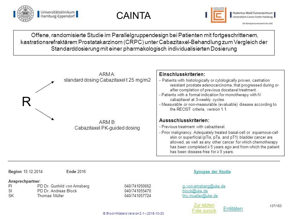 Entitäten Zur letzten Folie zurück CAINTA Offene, randomisierte Studie im Parallelgruppendesign bei Patienten mit fortgeschrittenem, kastrationsrefrak