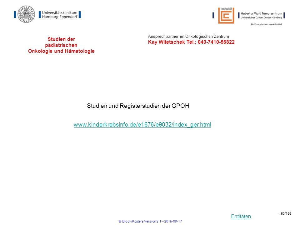 Entitäten Studien der pädiatrischen Onkologie und Hämatologie Studien und Registerstudien der GPOH www.kinderkrebsinfo.de/e1676/e9032/index_ger.html A