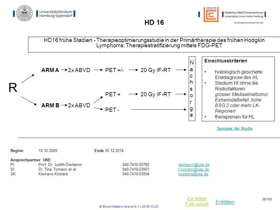 Entitäten Zur letzten Folie zurück HD 16 HD16 frühe Stadien - Therapieoptimierungsstudie in der Primärtherapie des frühen Hodgkin Lymphoms: Therapiest