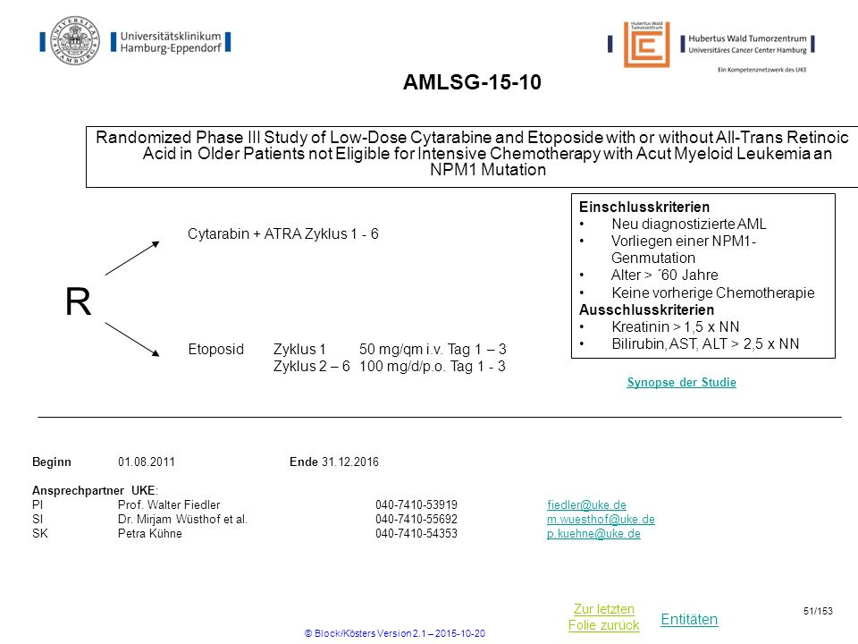 Entitäten Zur letzten Folie zurück AMLSG-15-10 Randomized Phase III Study of Low-Dose Cytarabine and Etoposide with or without All-Trans Retinoic Acid in Older Patients not Eligible for Intensive Chemotherapy with Acut Myeloid Leukemia an NPM1 Mutation R Beginn01.08.2011Ende 31.12.2016 Ansprechpartner UKE: PIProf.